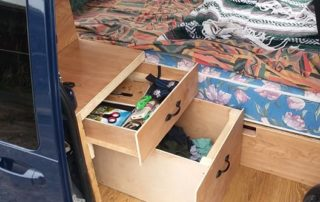 pull out drawers in ford transit custom camper van conversion in golden, colorado