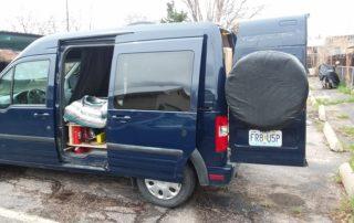 side view of ford transit custom camper van conversion in golden, colorado
