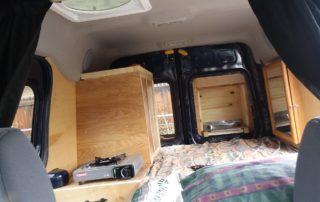 ford transit custom camper van conversion in golden, colorado interior affordable option